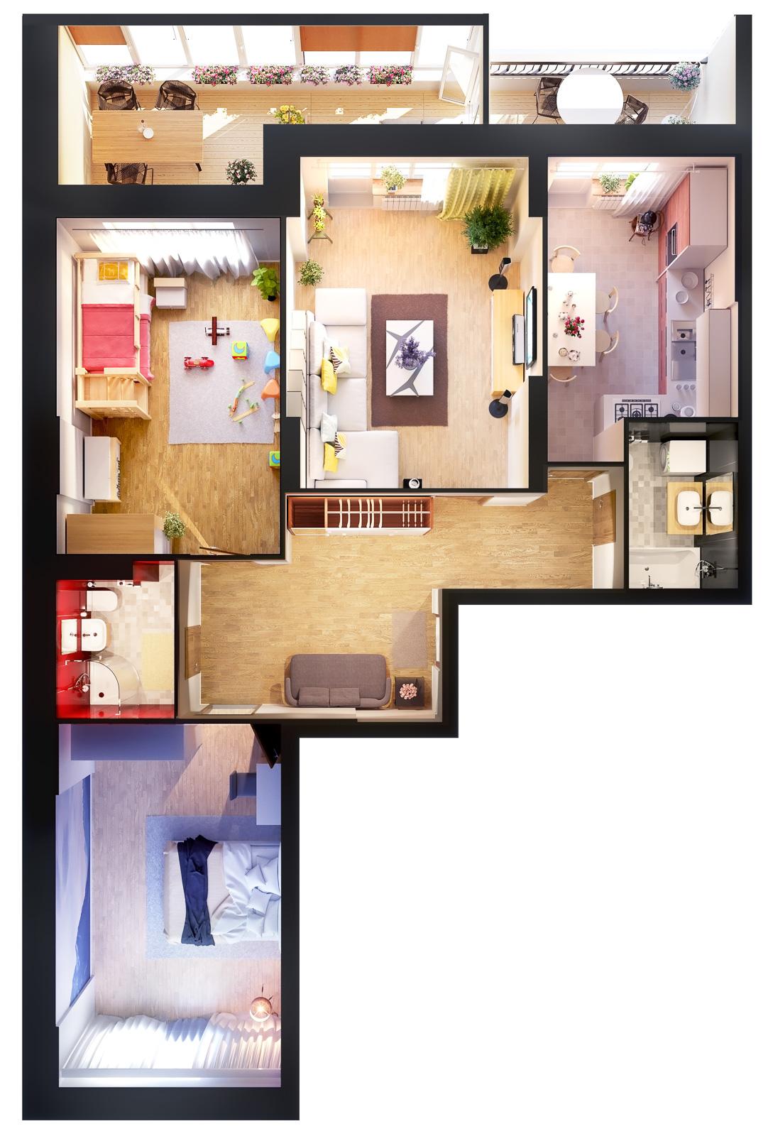 Квартира 3к, тип 1А2, 1А7