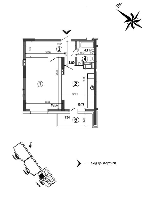 Квартира 1к, тип 1А1