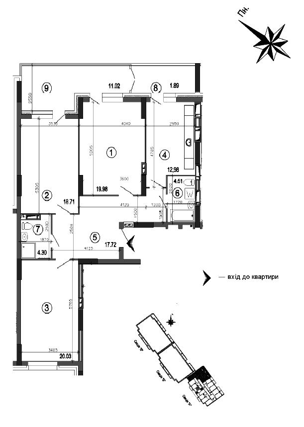 Квартира 3к, тип 1А2