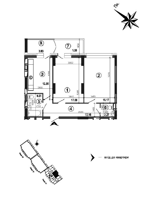 Квартира 2к, тип 1А3