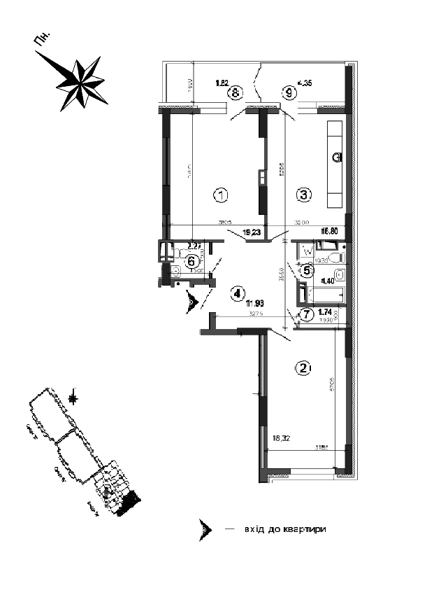 Квартира 2к, тип 1А4