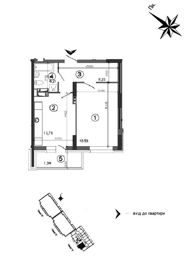 Квартира 1к, тип 1А5