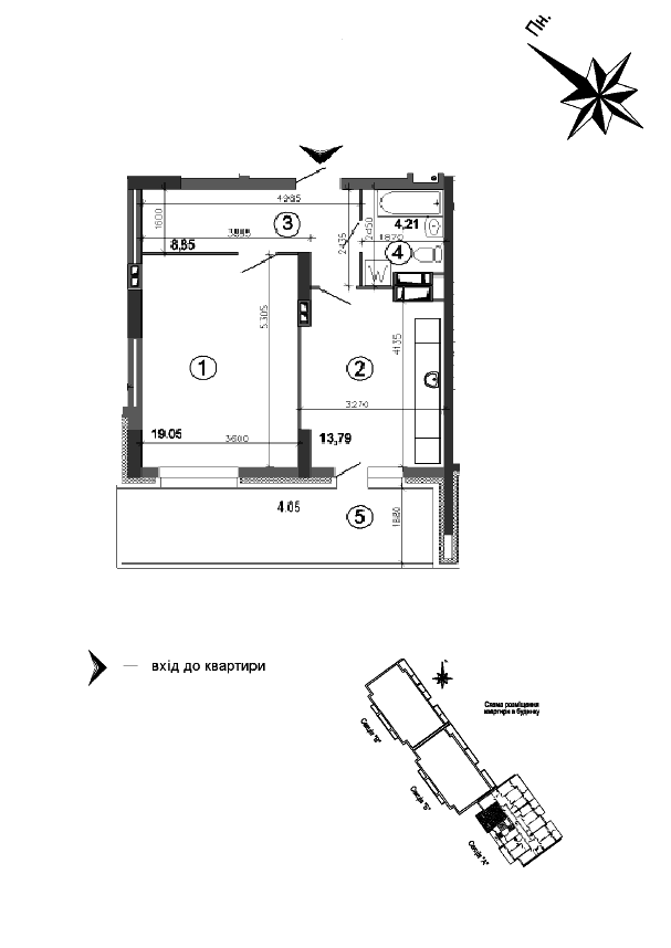 Квартира 1к, тип 1А6