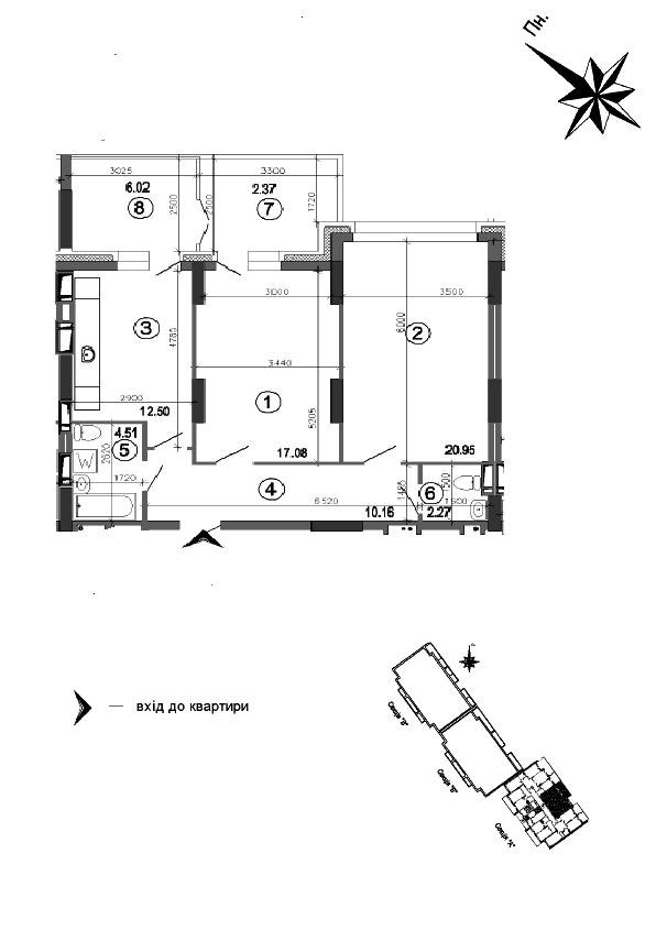 Квартира 2к, тип 1А8
