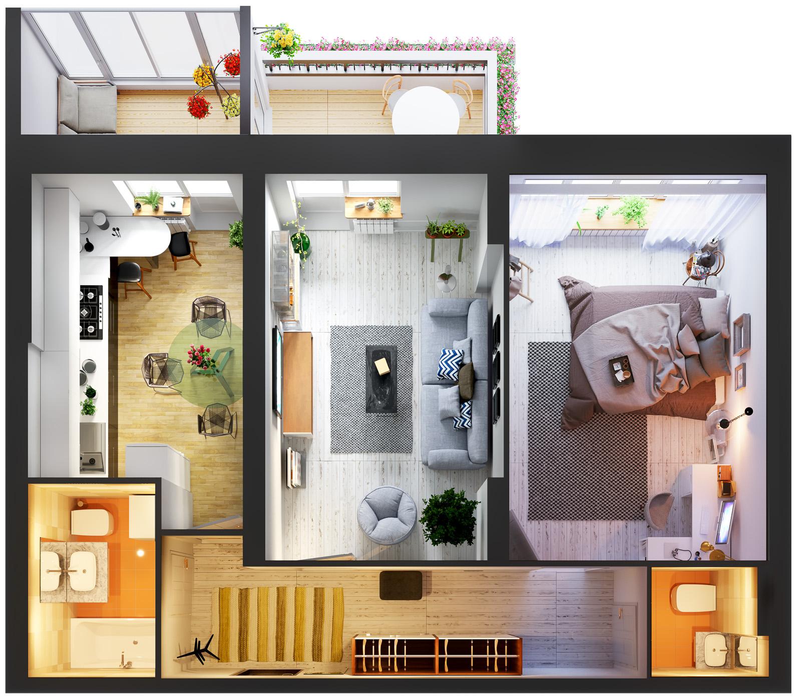 Квартира 2к, тип 1А3, 1А8
