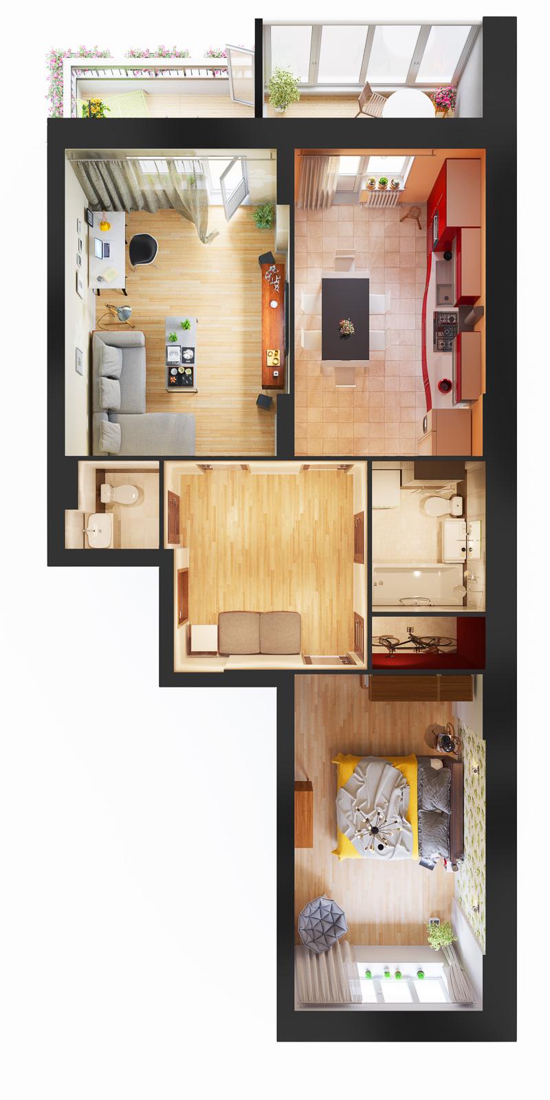 Квартира 2к, тип 1А9